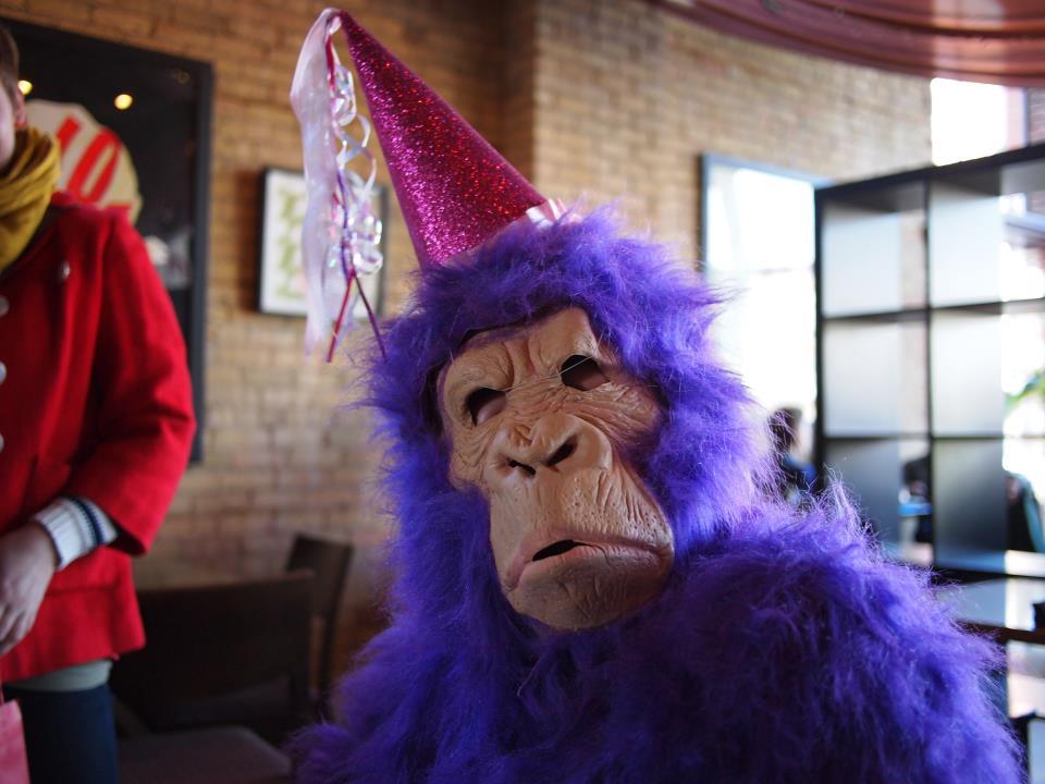 Birthday gorilla stops by Brunchkateers